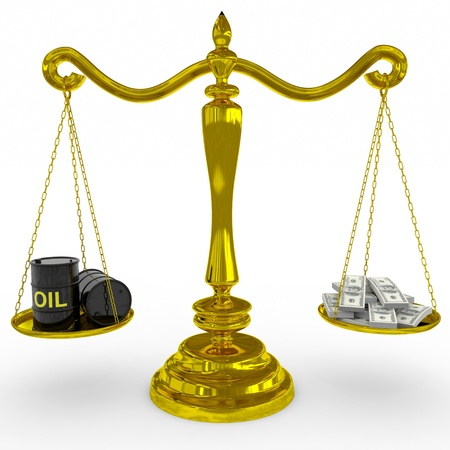 Oil barrel and dollars sing on a golden scales. Computer generated image. photo