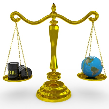 barell: Oil barrel and earth globe on a scales. Computer generated image.