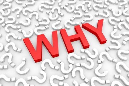 why: Red WHY word around questions. Computer generated image. Stock Photo