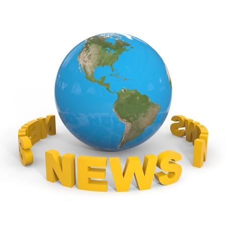 NEWS around globe earth. Computer generated image.