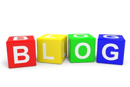 BLOG colorful cubes. Computer generated image. Stock Photo - 12952849