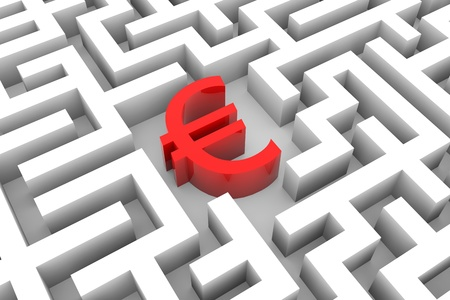 Red euro sign into the maze. Computer generated image. Stock Photo - 12952890
