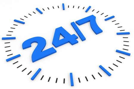 24h: Clock. 247 avaliable. Computer generated image.