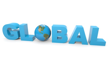 GLOBAL 3d text.  Earth globe replacing letter O. Computer generated image. Stock Photo - 12952757