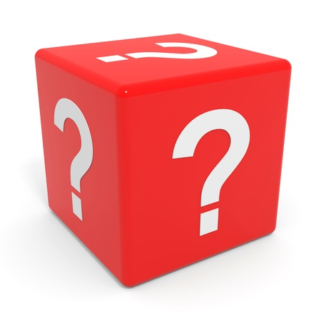 Red cube with question mark. Computer generated image.