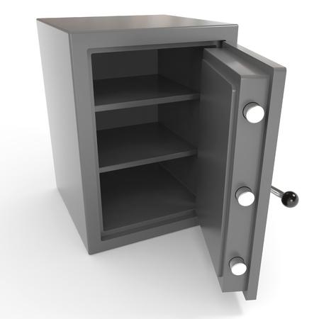 safe deposit box: Open empty safe. Computer generated image.
