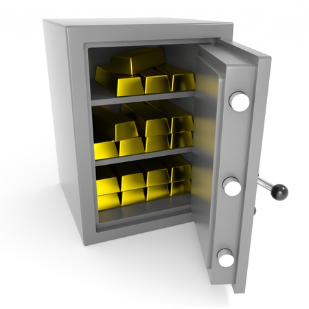 gold ingot: Safe with gold bars. Computer generated image.