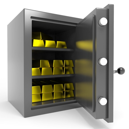 safe deposit box: Safe with gold bars. Computer generated image.