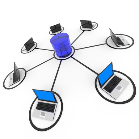 data backup: Abstract computer network and database. Concept. Computer generated image.