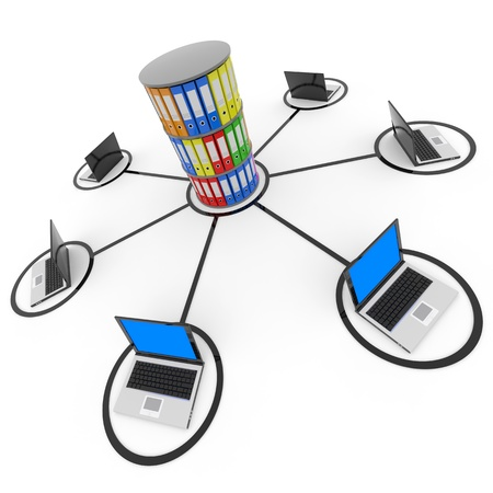 Abstract computer network with laptops and archive or database. Computer generated image.