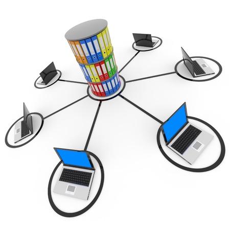 data warehouse: Resumen red inform�tica con ordenadores port�tiles y de archivo o base de datos. Imagen generada por ordenador.