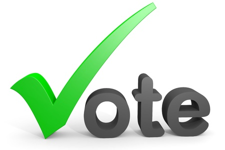 votes: 3D text vote. Green tick replacing letter V. Computer generated image.