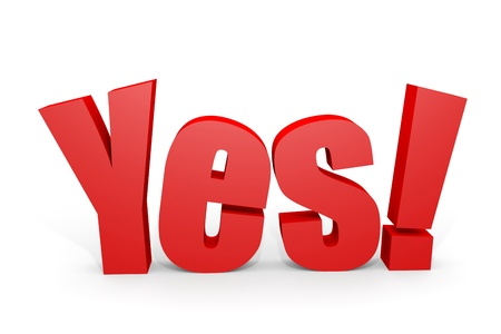 3d YES text with exclamation mark on white. Computer generated image. Stock Photo - 13023927