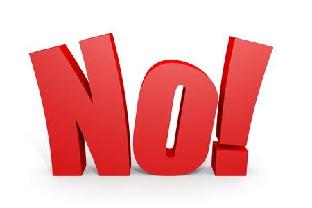 signo de admiracion: Red 3d NO texto con signo de exclamaci�n sobre fondo blanco. Imagen generada por ordenador. Foto de archivo