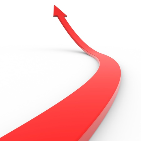 Red 3d arrow up. Computer generated image.