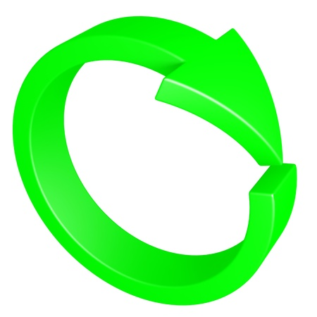 circular flow: Green arrow. Cycle. Computer generated image. Stock Photo