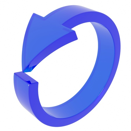 circular arrow: Blue arrow. Cycle. Computer generated image.