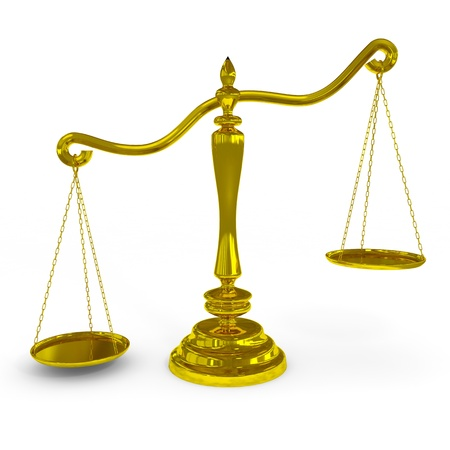 tribunal: Unbalanced golden scales. Computer generated image.