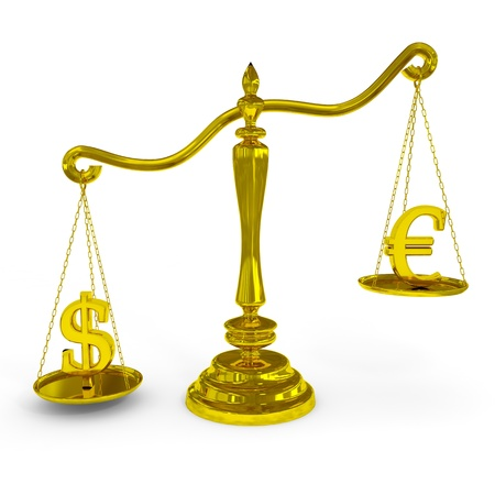 Dollar and euro signs on a scales. Computer generated image. photo