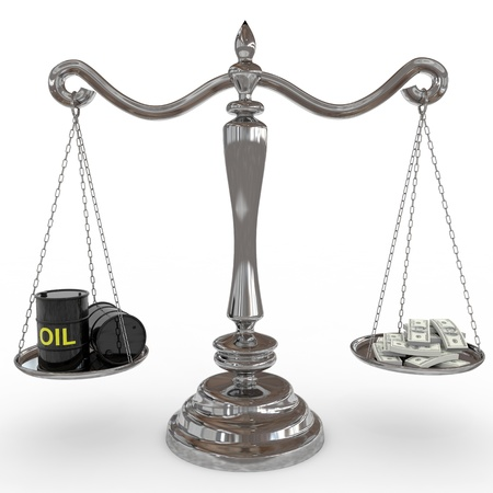 Oil barrel and dollar sing on a scales. Computer generated image. photo
