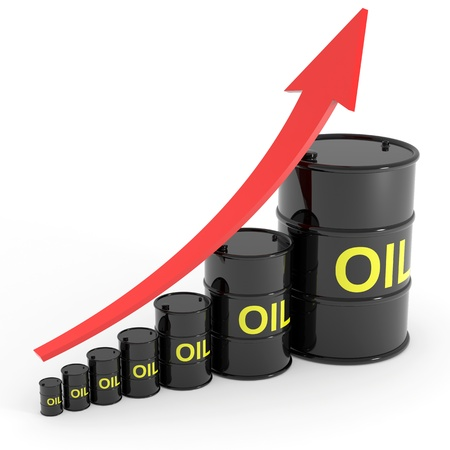 Rising oil barrels graph. Computer generated image. Standard-Bild