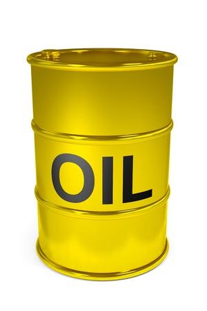 tambor: Barril de petróleo de oro. Imagen generada por ordenador.
