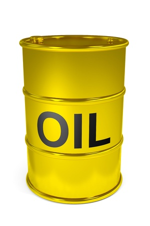 Golden oil barrel.  Computer generated image. Stock Photo