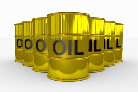 gas cylinder: Oil barrels.  Computer generated image.