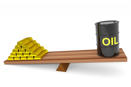 Oil barrel and gold bars on a scales. Computer generated image. photo