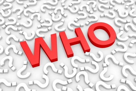 Red WHO word around questions. Computer generated image. Stock Photo - 13023942