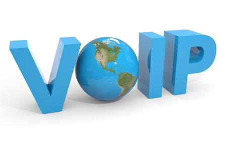 VOIP の 3d テキストです。地球地球儀交換 O 手紙。コンピューター生成イメージ。