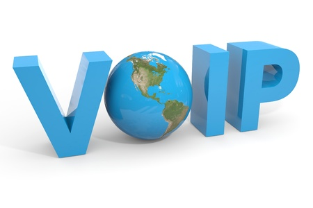 mobile voip: VOIP 3d text. Earth globe replacing O letter. Computer generated image. Stock Photo