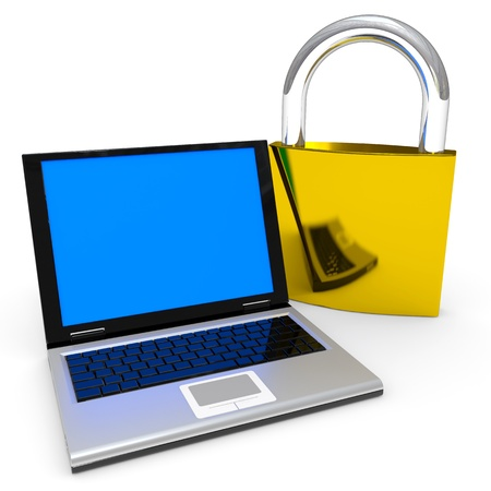 Laptop and padlock. Internet security concept. Computer generated image. photo