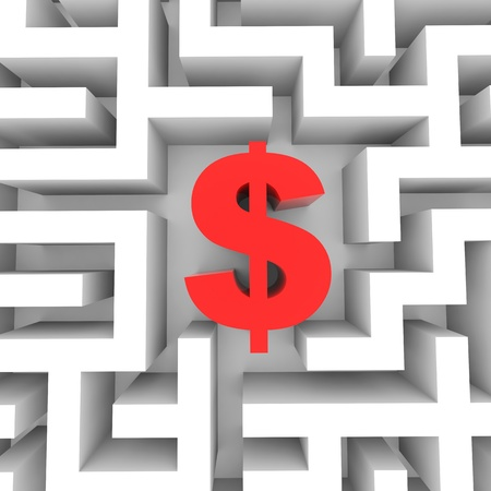 Red dollar sign into the maze. Computer generated image. Stock Photo - 13024092