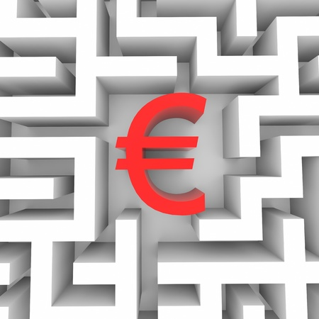 Red euro sign into the maze. Computer generated image. photo