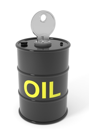 Oil barrel with key. Computer generated image. Stock Photo - 13024145