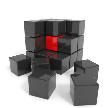 core: Assembled black cube with red core  Computer generated image  Stock Photo
