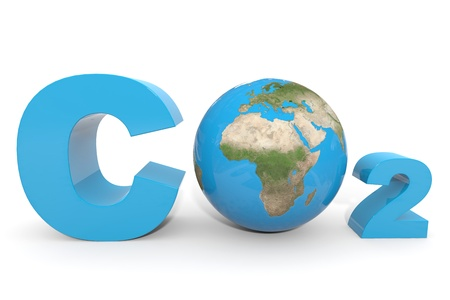carbon monoxide: CO2 with earth globe  Computer generated image  Stock Photo