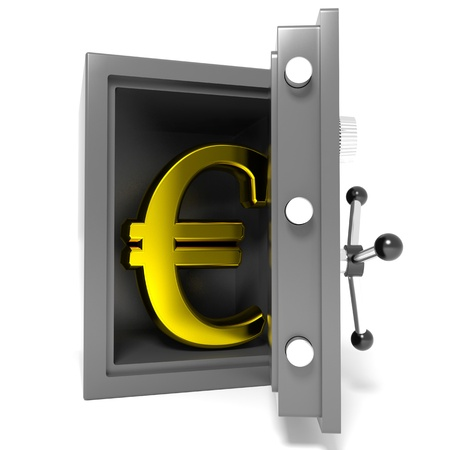 robbery: Open bank safe with gold euro sign inside  Computer generated image