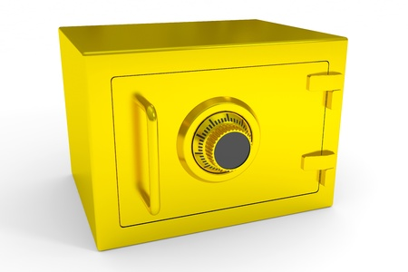 Little closed safe from gold  Computer generated image Stock Photo - 13024010