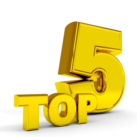 top rated: Gold TOP five  Computer generated image  Stock Photo