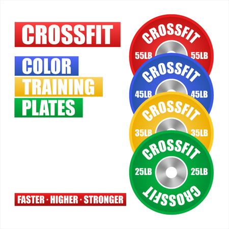 weightlifting equipment: Ilustraci�n vectorial Crossfit. Equipos de pesas. Placas de formaci�n.
