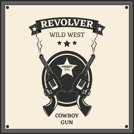 trigger: Vector logo engraving western revolvers. Vintage style