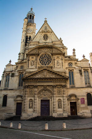 patron of europe: The church of Saint Etienne du Mont is located on the montagne Sainte Genevieve in the 5th arrondissement , near the Pantheon.It contains the shrine of St. Genevieve , the patron saint of Paris. Stock Photo