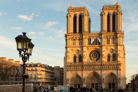 ile de la cite: Paris; France-December 07; 2015: The Notre Dame cathedral is a historic catholic cathedral on the eastern half of the ile de la Cite in 4th arrondissement of Paris. Editorial
