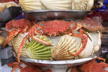 seafood platter: The spider crab on seafood platter .