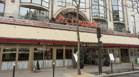 miller: Paris; France-January 02, 2016: The brasserie La Coupole is one of the most famous Parisian brasseries.There were often painters such as Derain, Leger, Soutine, Kisling and Picasso...Aragon met Elsa and Simenon dined with Josephine Baker.Henry Miller and