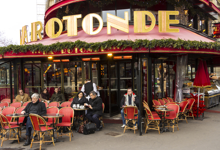 frequented: Paris; France-January 02; 2016: The cafe de la Rotonde is the famous cafe in the Montparnasse quarter of Paris.It had been frequented by Pablo Picasso, Amedeo Modigliani, Diego Rivera...