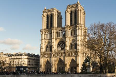 ile de la cite: Paris; France-December 29; 2015: The catholic cathedral Notre Dame is a historical and religious monument on the eastrn half of the Ile de la Cite in the 4th arrondissement of Paris.