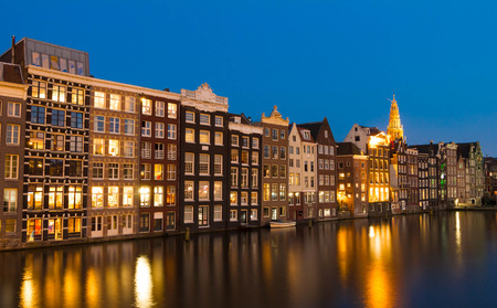 The traditional Dutch  houses in evening, Amsterdam,  Holland.